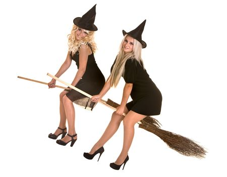 Group Halloween witch blond in black costume and hat fly on broom.Isolated. photo