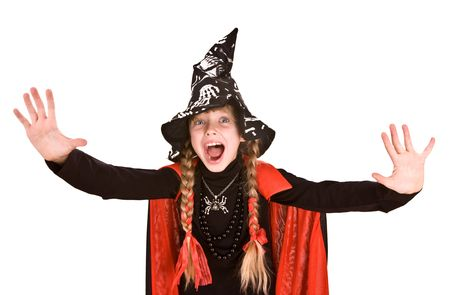 Child girl  Halloween witch  in black hat and dress with hand stop.Isolated. photo