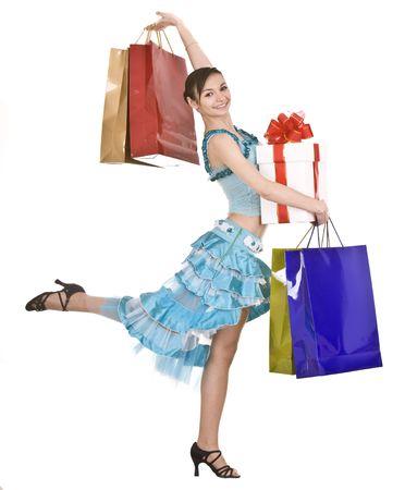 gir:  Beautiful gir in dress shopping. Isolated. Stock Photo