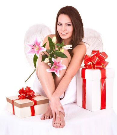 Angel girl with gift box.Halloween. Isolated. photo