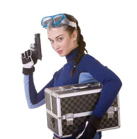 scuba woman: Beautiful young girl in goggles with box. Isolated.