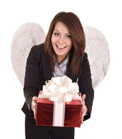 Business woman  angel with christmas red box on halloween. Isolated. photo