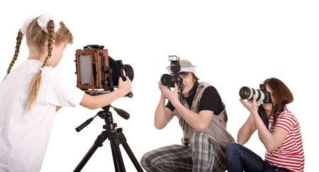 Happy family with three camera. Isolated. photo