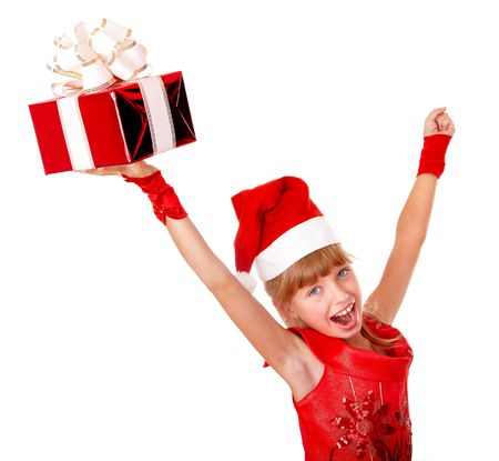 Girl child santa clause in red christmas dress with gift box. Isolated. Stock Photo - 5695132