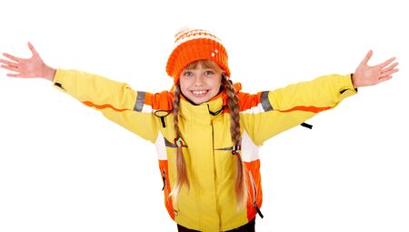 Girl in autumn orange  hat with outstretched arm. Isolated. Stock Photo - 5695072