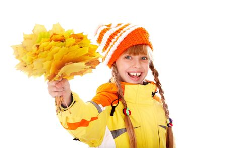 Girl in autumn orange  hat with  maple  leaf group. Isolated. Stock Photo - 5695128