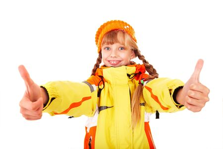 Girl in autumn orange  hat with thumb up.  Isolated. Stock Photo - 5695294