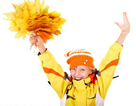 Girl in autumn orange  hat with  maple  leaf group. Isolated. Stock Photo - 5695254