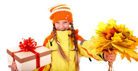 Girl in autumn orange  hat with  maple  leaf group,gift box. Isolated. Stock Photo - 5695379