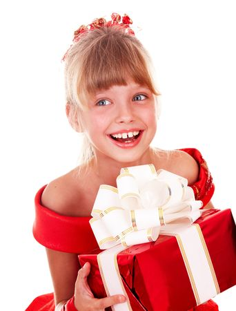 only 1 girl: Girl child  in red dress with gift box. Isolated.