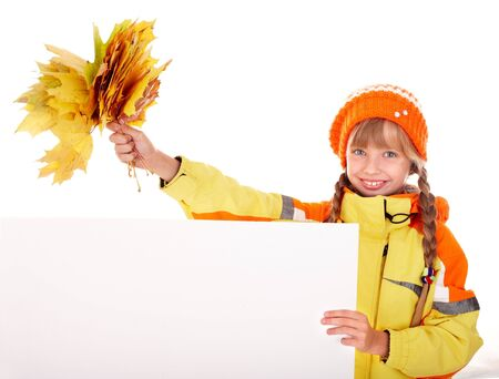Girl in autumn orange  hat with  leaf group, banner. Isolated. photo