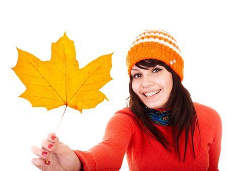 Girl in autumn orange maple leaf. Fall discount. Autumn sale. photo