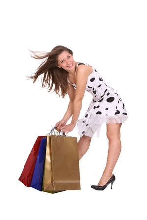 Young girl with gift bag. Isolated. Stock Photo - 5775215