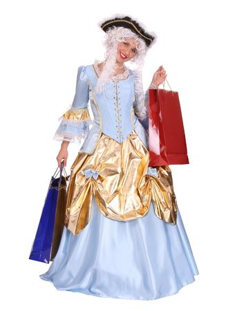 Woman in ancient dress of marquise with gift bag. photo