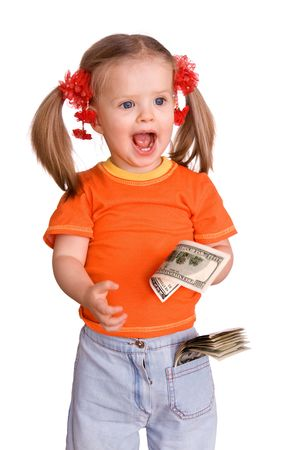 Child girl with money dollar banknote. Isolated. photo