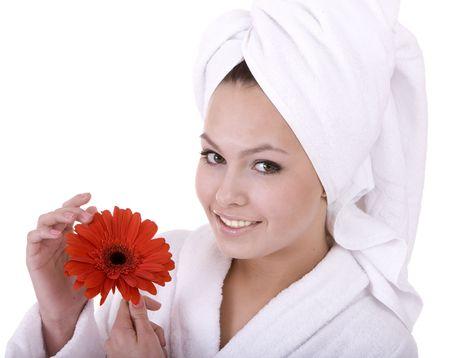 Beautiful young woman in spa. Health resort. photo
