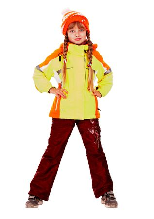Girl in autumn orange hat and sport  jacket. Isolated. Stock Photo - 5775206