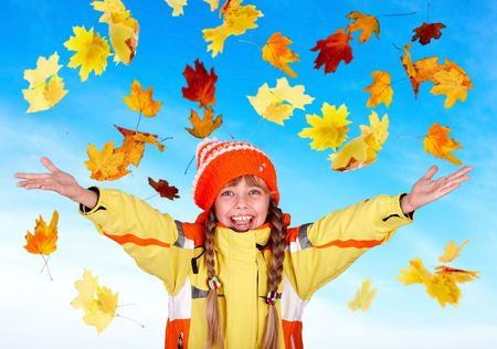 Girl child in autumn orange hat with outstretched arm. Outdoor. Stock Photo - 5775219