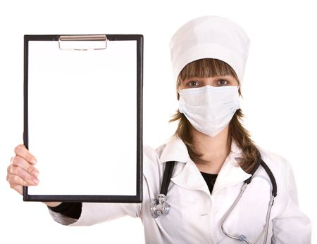 Doctor with stethoscope and folder. Isolated. photo