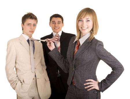 feminismo: Grupo de personas en traje de negocios. Feminismo. Aislados.
