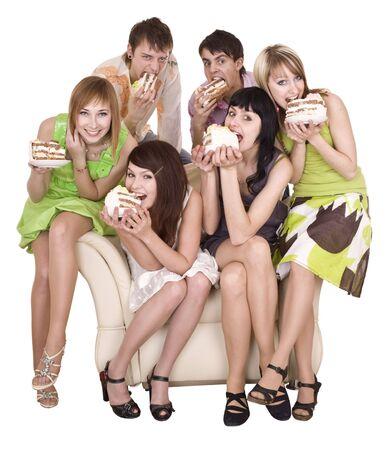 hombre comiendo: Grupo de la gente come torta. Aislados. Foto de archivo