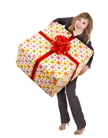 Business woman with gift box. Isolated. photo