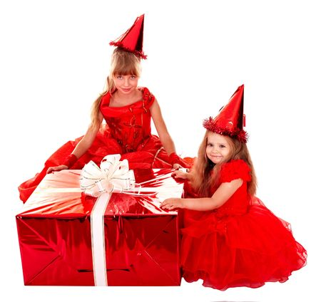 santa clause hat: Group child in santa clause hat with christmas red gift box.