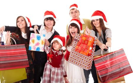 new years vacation:  Happy family with red gift box. Isolated.