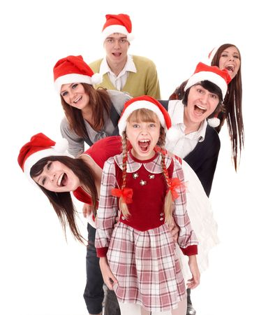 Happy group  people and child  in santa hat. Isolated. photo