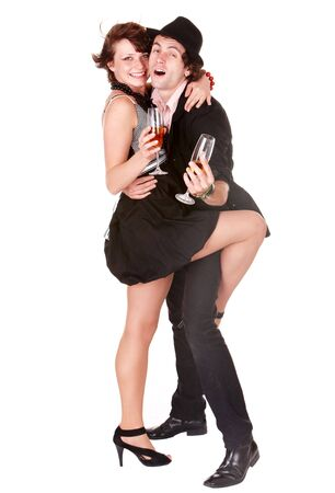 Couple man and girl with wine dance. Isolated. Stock Photo - 5851485