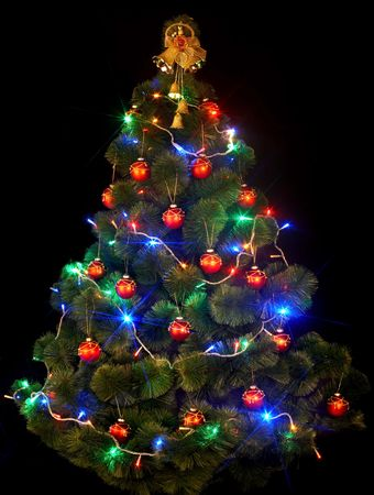 christmas tree with led light on black background stock photo 5865992