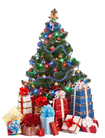 Christmas tree with light and group gift box. Isolated. photo
