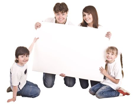 Happy family with white banner.Isolated. photo