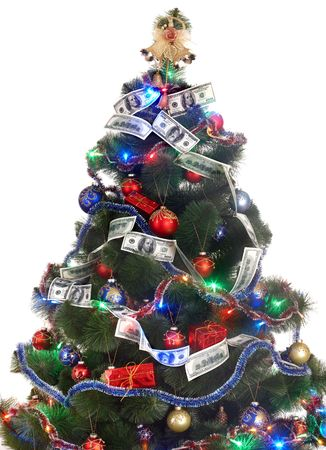 money sphere:  Christmas tree with money dollar garland. Isolated.