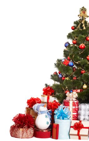 Christmas tree,  group gift box and snowman. Isolated. photo