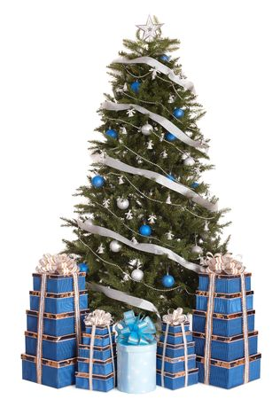 Christmas tree with silver ,blue ball,  gift box group.   Isolated. Stock Photo - 5927065