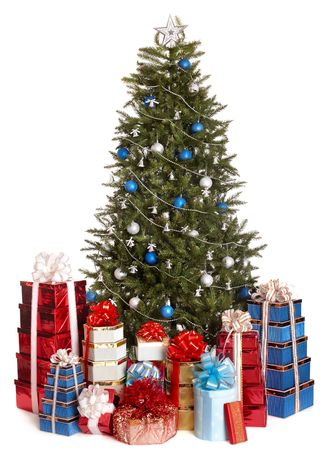 Christmas tree with silver ,blue ball, group gift box.  Isolated. photo