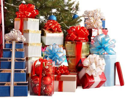 Group gift box, christmas tree with silver ,blue ball.   Isolated. photo