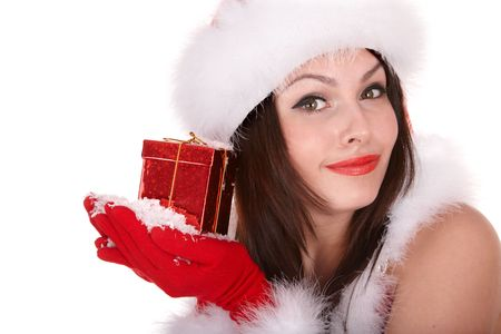 Christmas girl in santa hat with small red gift box,snow. Isolated. photo
