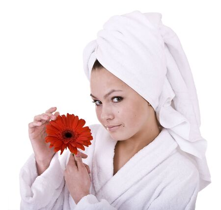 Beautiful young woman in spa. Isolated. photo