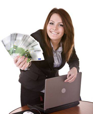 Businesswomen with group of money and laptop. Isolated. photo