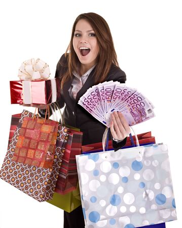 Business woman with money, gift, box and bag. Isolated. photo