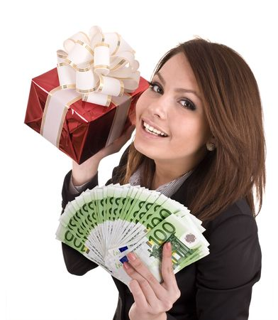 winning business woman: Girl in business suit  with money, red gift box. Isolated.