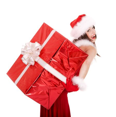 Christmas girl in santa hat with big gift box. Isolated. photo
