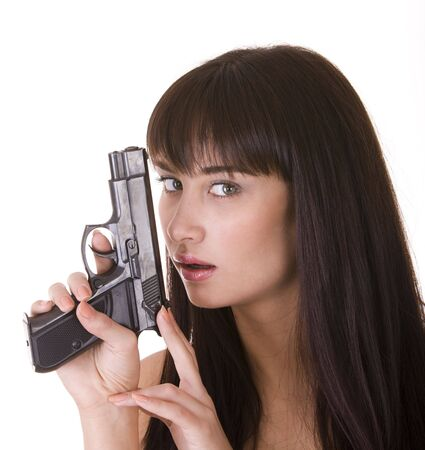 Character beautiful woman with gun. Isolated. photo