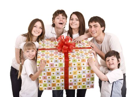 Happy family with gift box. Isolated. photo