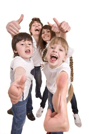 Happy family throw out thumb.Isolated. photo
