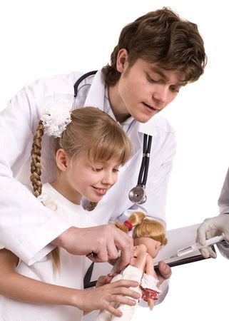 Doctor learn child to do  inoculation. Isolated. Stock Photo - 6050202