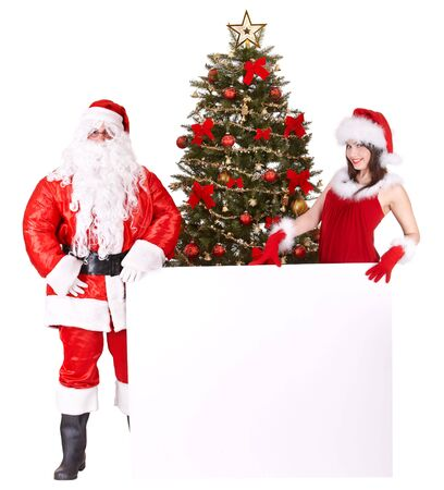 Christmas girl, santa claus with banner and tree. Isolated. photo