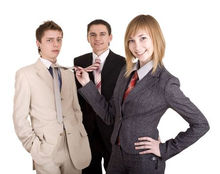 Group of people in business suit. Feminism. Isolated. photo